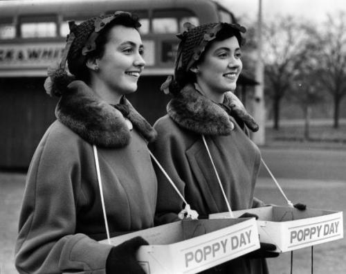 Girls offering Poppies on Remembrance Day in the UK C. Late 1940s/early 1950s