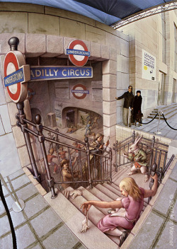 amazing 3D chalk pieces seen in streets by Kurt Wenner (via)