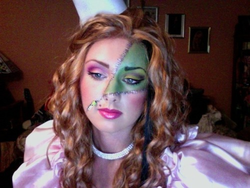 glittergoldandlace:  Glinda the good witch unzipping into the wicked witch http://www.facebook.com/LacyVonV