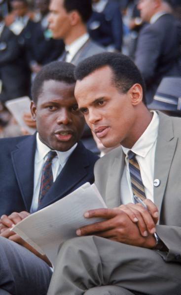 francis miller - sidney poitier & harry belafonte chatting during the march on washington for jobs & freedom, 1963