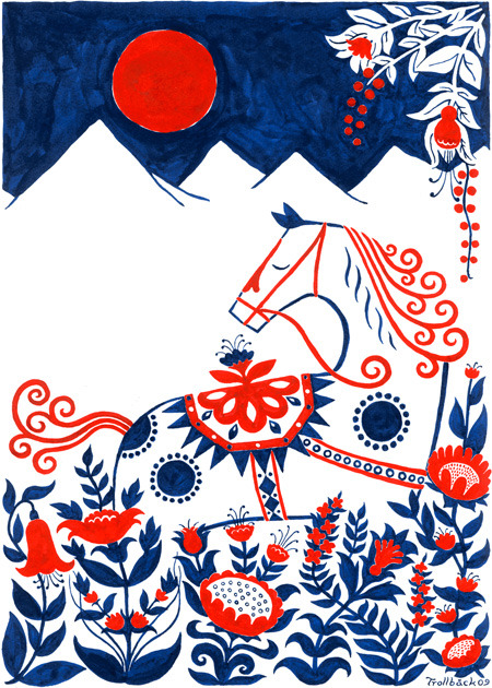 fromscandinaviawithlove:  Dalahorse screen print by Swedish Henning Trollbäck. Available from Hoppa Hage.