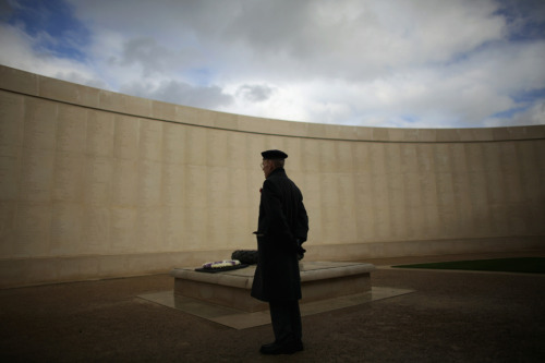 A veteran paid his respects at the National Memorial Arboretum on  Remembrance Day in Lichfield, England, Thursday. (Photo: Christopher Furlong / Getty Images via the Wall St. Journal)