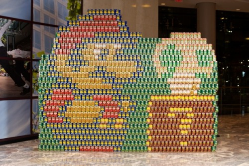 Yesterday Canstruction, an exhibit and design competition that  challenges teams of architects and engineers to stack and  color-coordinate cans into pop art masterpieces, debuted for its third  year at the World Financial Center.  View more photos»