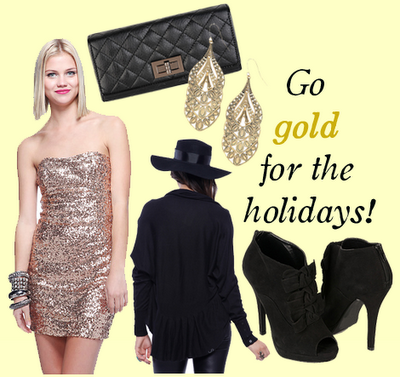 It's holiday-dressing-up-time! Go gold this holiday season (and for under $100!)