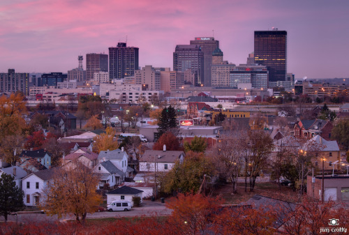 A new take on the Dayton skyline. Hues and tones of November. Side benefit of a visit to the cardiac rehab center at Miami Valley Hospital. #HDR #Photography #Dayton