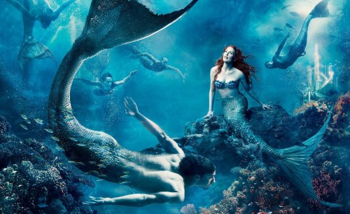 Julianne Moore as Ariel and Michael Phelps as a Merman Little Mermaid Portrait by Annie Leibovitz