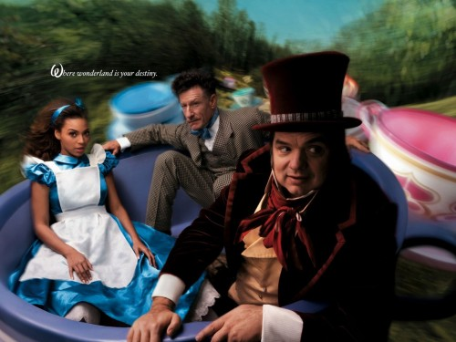 Beyonce Knowles as Alice, Lyle Lovett as March Hare, Oliver Pratt as Mad Hatter Alice in Wonderland Portrait by Annie Leibovitz