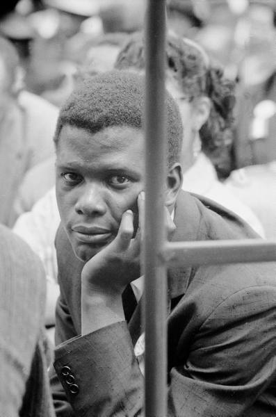 paul schutzer - portrait of participant (sidney poitier!!) during prayer pilgrimage, 1957