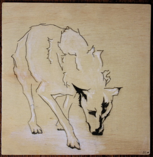 "The Wolf Graphite + Conte on Wood, 20106"" x 6"""