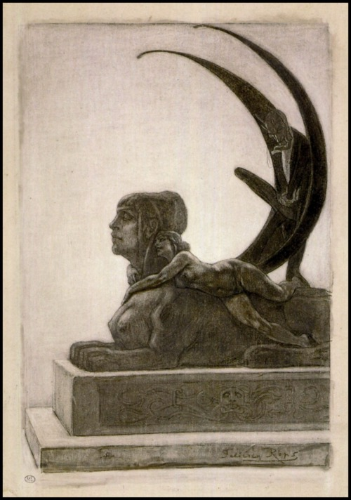 The Sphinx -Frontispiece for Les Diaboliques * by Jules Barbey d'Aurevilly by Felicien Rops from The Pictorial Arts [it's a repost but i'm loving it that much;]