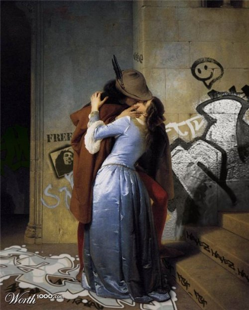 """Urban Kiss"" (original: ""The Kiss"" by Francesco Hayez)"