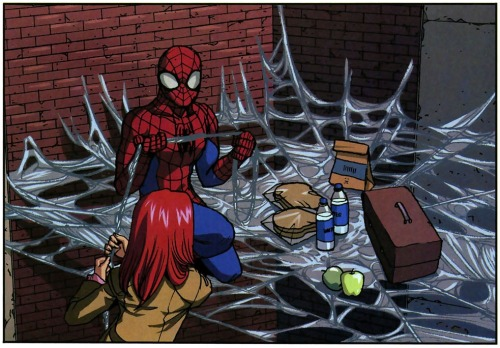 maritimelegend:  Spider-Man Loves Mary Jane #5. Romantic dinner date in an alley on top of spider webs! Aw yeah!