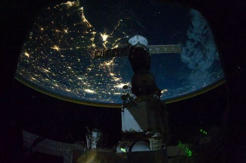 New Orleans and Houston, USAas seen from the International Space Station 220 miles above Earth. [Source]