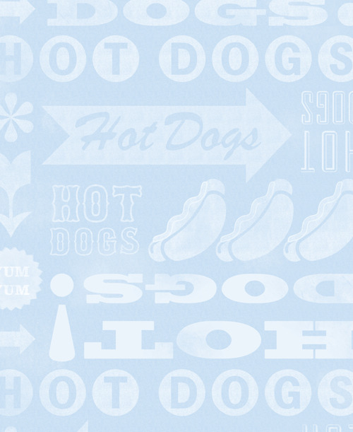 Type On Tuesday :: HotDogs Anonymous End Sheet Design :: by Blue Tricycle. Minneapolis, Minnesota. Get Your Hot Dogs Here! Can you hear the vendors yelling with this typographic design? What do you like on your hot dog?