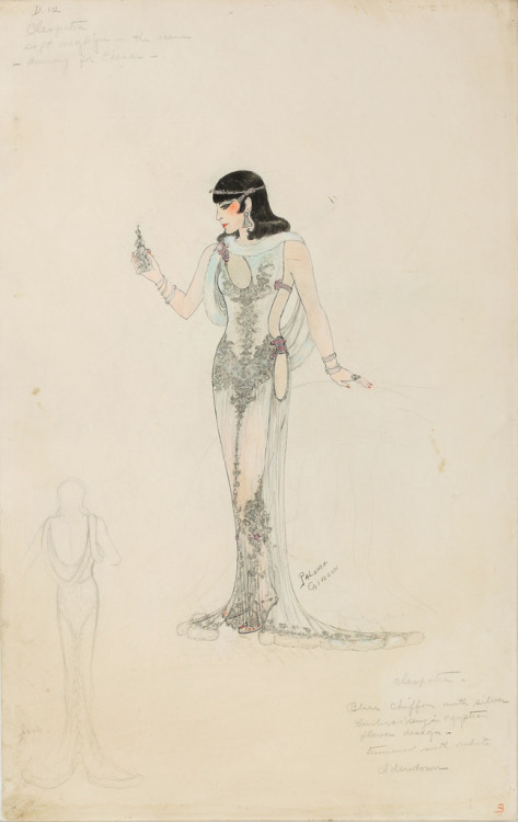 the-asphalt-jungle:  Paloma Gibson costume sketch for Claudette Colbert in Cleopatra (1934)