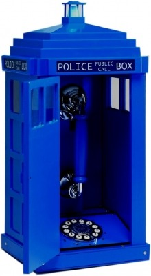 "Because so many of you showed an interest in the TARDIS phone from last night I decided to do some research on it and came up with this site which allows you to purchase it for  £54.99. Or there's this one for  £69.99. This one for various prices of the same range (but also explains shipping). It also has some other call box telephones. Fun stuff: The light flashes on top when the phone rings. It has a plastic roof but is wood veneer. (oOoOo) Push button dialing (which one site describes as ""today's technology""), ringer on/off switch, and Pan European Approval. (Good stuff, that.) It can also be used free standing or hung from a wall and the dimensions are approx. 220w x 200d x 470h mm."