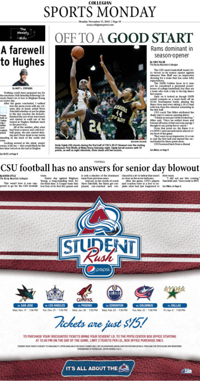 Monday, November 15, 2010. The Rocky Mountain  Collegian Sports Monday. Page designed by Design Editor Alexandra Sieh.