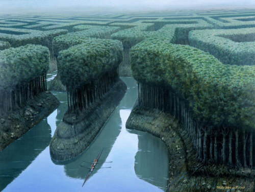 "nickkahler:  Mike Worrall, Sulling the Forest, 2010 (via blogut) ""The enigmatic, dreamlike paintings of Mike Worrall are often inspired by historical themes.  Informed by his work in film, Worrall deals with the sublime in his hyperreal depictions of the mysterious.  As in a dream, the quiet façade and the beauty of the large scale oil paintings masks the intriguing content and enormous energy underpinning the works."""
