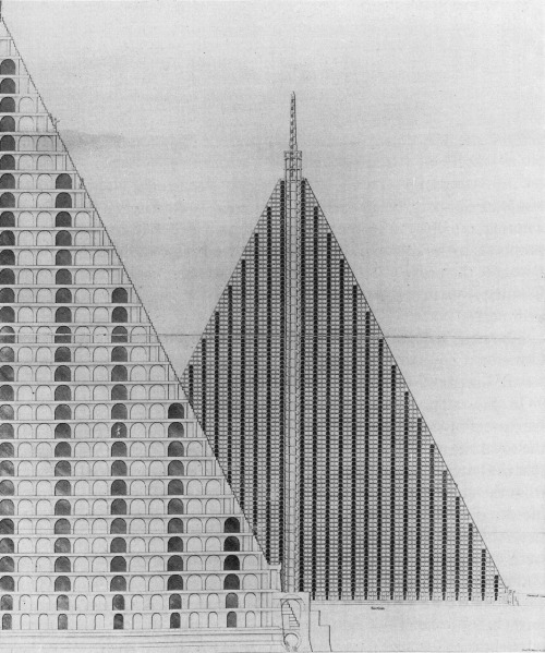 "Skyscrapers of the Dead? via laphamsquarterly:  In 1820 a little-known architect named Thomas Wilson proposed a plan for ""a metropolitan cemetery on a scale commensurate with the necessities of the largest city in the world, embracing prospectively the demands of centuries, sufficiently capacious to receive five million of the dead, where they may repose in perfect security, without interfering with the comfort, the health, the business, the property, or the pursuits of the living."" What he proposed, in short, was a massive pyramid, its base covering eighteen acres and its height well above that of St. Peter's Cathedral—a metropolitan sepulcher, a skyscraper for the dead. —From Colin Dickey's new Roundtable post, ""Skyscrapers of the Dead."" His essay, ""Necropolis,"" on cemeteries and urban spaces, is featured in our Fall 2010 issue on The City."