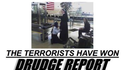 I'm not usually the biggest fan of Drudge Report, but I do find this photo & caption hilarious and frighteningly accurate.
