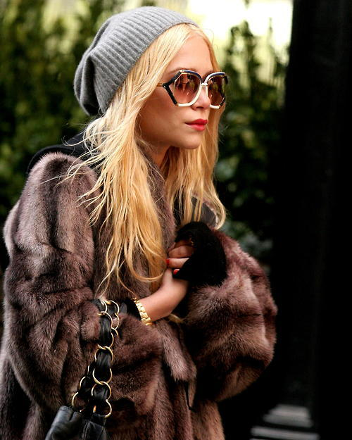 feedherfashion:  one of my most loved outfits from mk olsen- beanie and amazing vintage dark fur coat is accentuation by statement red lipstick and nails.
