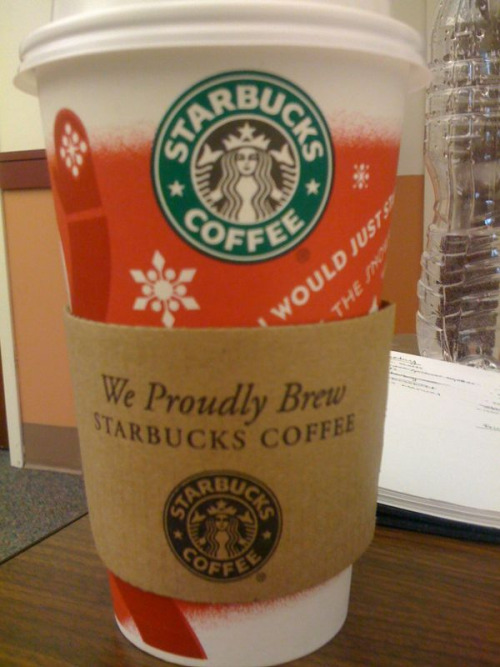 That's good to know Starbucks. I would sure hope you serve Starbucks coffee.
