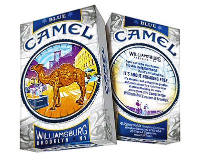 """So a camel walks into the Turkey's Nest…whiskeyandgoatsmilk:  Camel Launches Williamsburg-Brand Cigarettes   Cigarettes are hip – or at least that's what the folks over at RJ Reynolds who just designed a box of Camel smokes specifically for Williamsburgers want you to think. As part of its 10-week """"Camel Break Free"""" campaign, the company redesigned its Camel Blue (nee Camel Lights) packaging to mirror the skylines of 10 """"cool"""" places across the nation, includingAustin, Texas,Seattle, and, naturally, the hipster's meccaWilliamsburg. While Camel's website refers to Williamsburg as """"the most famous hipster neighborhood,"""" it stops short of outright calling smoking the cool thing to do. """"It's not about hip, it's about breaking free,"""" RJ Reynolds explains on the site. The promotional material says, """"It's about last call, a sloppy kiss goodbye and a solo saunter to a rock show in an abandoned building … It's where a tree grows."""" Now that last one's original. And if you're looking to boost your rep around the neighborhood, Camel urges you to try one of its Williamsburg smokes and assures you you'll earn """"serious street cred."""" The campaign asks customers to buy the cigarettes and sign up for prizes on the website, which at least one blogger says Williamsburgers are much too cool to do. """"The campaign might do alright with the 17-year-old poseur set inToledo, but Brooklynites will not be interested,""""Andrea Bartz, co-author of """"Stuff Hipsters Hate,""""told the Brooklyn Paper. """"After all they roll their own, or bum Parliament Lights off whomever's outside the bar."""" (via) I LOVE EVERYTHING ABOUT EVERYTHING AND I HATE EVERYTHING ABOUTWILLIAMSBURG. FUCK YOU."""