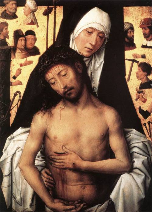 danielsalas:  1475 Hans Memling - The Virgin Showing the Man of Sorrows (the floating disembodied hands/tools/heads reminds me of Fra Angelico's Mocking of Christ.)