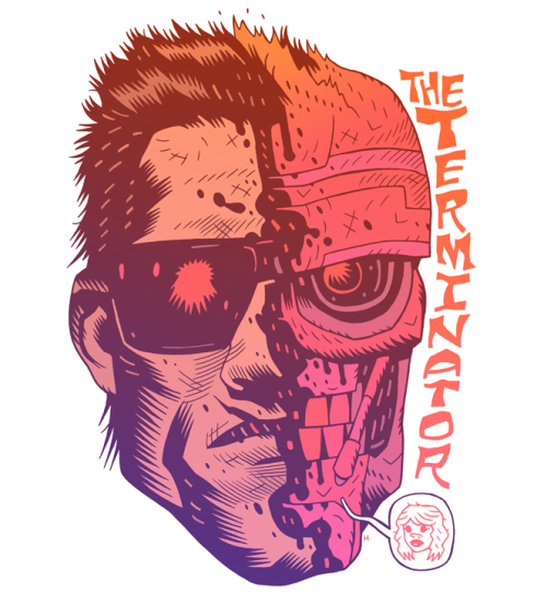 "The Terminator has been given a reboot by the skilled Dan Hipp! AUEUEUE! Related Rampages: COOKIE / BATMAN | COBRA!!! | Boba Fett | Darth Vader The Terminator by Dan Hipp / MISTER HIPP (Flickr) (Tumblr) Via: mrhipp - ""I'M LOOKING FOR SARAH CONNOR."""