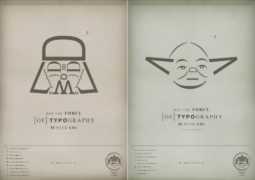 The use of typography is strong with H-57 Creative Station! This design firm knocked out a couple sweet text-based Darth Vader and Yoda emoticons. Darth Vader & Yoda by H-57 Creative Station (Facebook) Via: thedailywhat | copyranter | I Believe in Advertising
