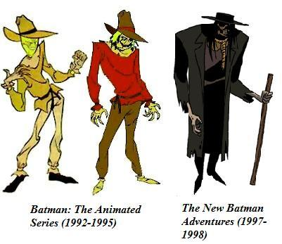"I absolutely hated the first version. To me, Scarecrow looked way too comical. Hated it hated it hated it. The second version was awesome, and somewhat reminiscent of the comics. I would have preferred they tweaked this one instead of moving on to… OMG WHAT THE HELL IS THAT. Okay, granted, this version is scary as fuck, and Scarecrow is most definitely scary, but in the words of Paul Dini: ""we weren't sure if there was an actual guy in the suit"". This, of course, is just my humble opinion. What version is your favorite?"