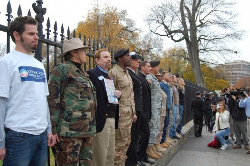 Three generations of US military and veterans protest Don't Ask, Don't Tell in front of the White House The Ghosts of Don't Ask, Don't Tell: Moving Forward « Talk About Equality via MetaFilter