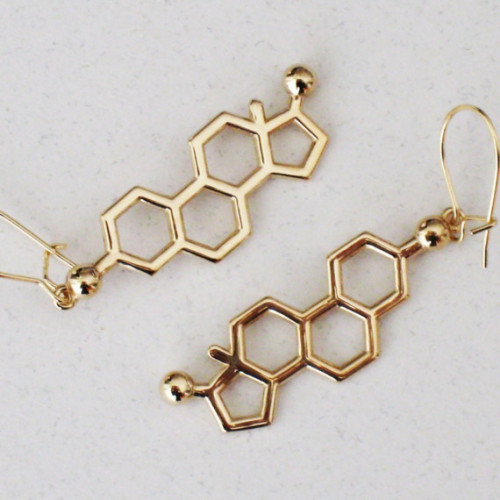 Estrogen Molecule Earrings, in 14K solid gold from Molecular Muse. Man, I love this shop.