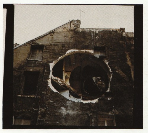 i'd love to wander around inside this place  kiameku:  Gordon Matta-Clark Conical Intersect 1975 From a series of five colour photographs 101.6 x 106.7 cm