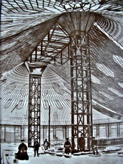 Caption: The world's first steel tensile structure by Shukhov (during construction), Nizhny Novgorod, 1896.