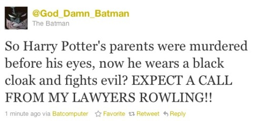 God Damn Batman re: Harry Potter.