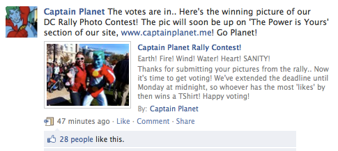 GPOYW - My photo got the most likes on the Captain Planet Facebook page so I won a tshirt! The power is yours!