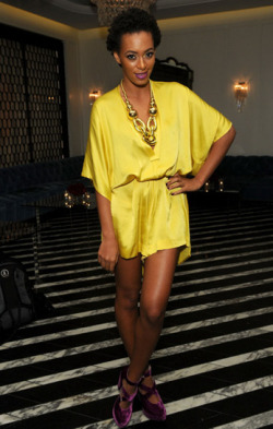 bohemianprincess:  Solange Knowles attends the Range Rover EvoqueVIP launch party at Cecconi's Restaurant