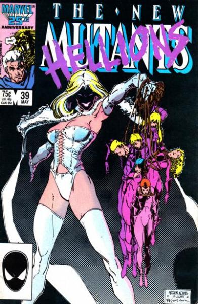 The New  Mutants #39, May 1986, cover by Art Adams and Bill Sienkiewicz I always adored this cover. Check out the little ident box at top-right, with miserable Magneto and Warlock - this was probably one of the first times I really registered a comic book screwing with the corporate identity bits of the cover like that. I think 86 must have been the year when I really started thinking of comics as a designed, created object - which sounds daft, but I would have only been 13. Of course I knew they were drawn and written, but with covers like this, which messed with areas of the book that I might have previously thought were predetermined and untouchable - including painting over the team logo! - along with the totally beautiful commemorative covers Marvel did for their 25th anniversary, I was starting to realise quite how much creative freedom was possible in the form. I guess most people started coming to that realisation in more experimental places like Drawn & Quarterly, or books that were better known critically, like Frank Miller's work on Daredevil and Batman, but for me the crazy stuff that happened in The New Mutants, as well as those early issues that would have introduced me to Bill Sienkiewicz, totally opened my eyes to what the medium could be.