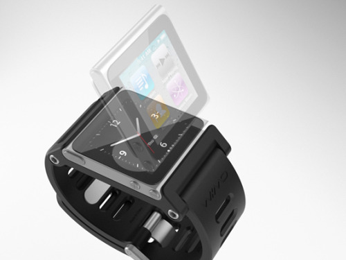 The best iPod Nano watch design I've seen yet. These look great but I'd never buy one unless the Nano had bluetooth support.  You'll never catch me with a cable from my wrist to my ears. If Apple went ahead and found a way to add bluetooth I think they could sell a lot more of these.