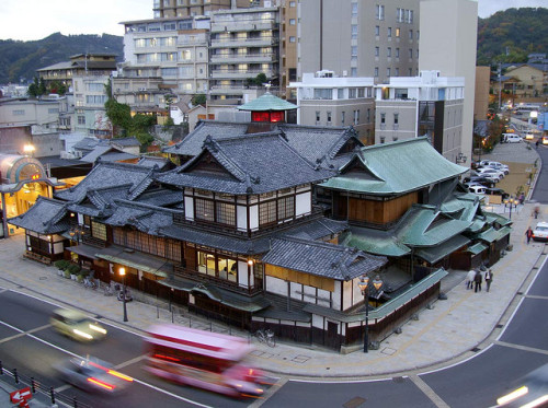 "shumi1000:   Dongo Onsen in Matsuyama, JapanThe oldest onsen in Japan.It was the inspiration for the onsen in Spirited Away.    ""Dongo"" is a mistake. The correct place name is ""Dougo""."