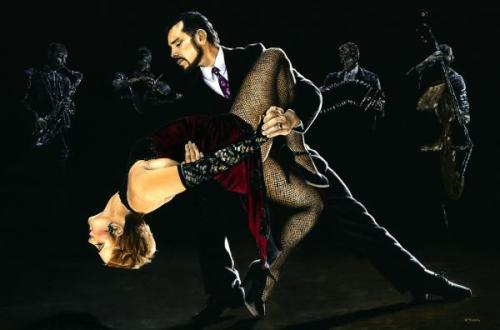For the Love of Tango - Original oil painting produced on stretched 91cm x 61cm canvas using a knife, mixing only on the canvas using a limited colour palette. There's many more figurative, dance and portrait fine art original oil paintings, pastels and gicleé prints on my website: www.ryoung-art.com