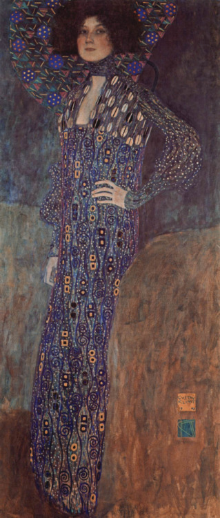 Gustav Klimt Miss Emilie Floege, 1902, oil on canvas, 178 x 80cm, Historical Museum of the City of Vienna, Austria.  Emilie Floege was a talented proprietor of a Viennese fashion salon. Klimt began a long-lasting, though apparently open,  relationship with her in 1899. The names of the models and other women in his life do not always  survive, partly because Flöge burnt much of Klimt's correspondence after  his death from a stroke in 1918.