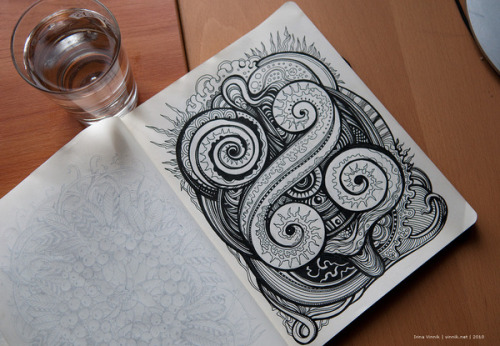 Sketchbook 2010 (vol. 2) on the Behance Network These illustrations by Russian artist Irina Vinnik are so unbelievably intricate. She has more work on her behance page but her website is where the real experience is. Immerse yo' self.