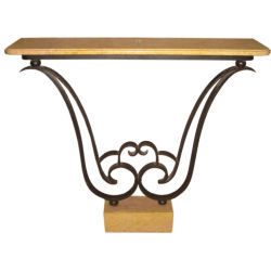 Axis Decorative Arts - French 1930s wrought iron and Sienna marble console - 1stdibs