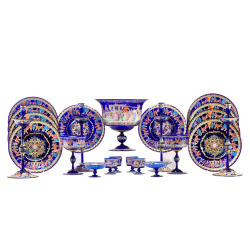 Elise Abrams Antiques - Salviati, Complete Venetian Hand Blown Cobalt Blue Table Service - 1stdibs