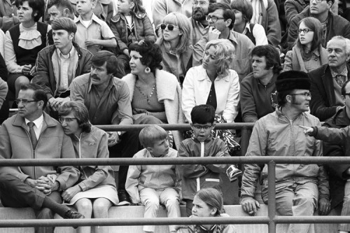 Spectators at Alpenrose Velodrome circa 1971.  So good!  Photo by James Mason, from his collection of photos from the Portland bike racing scene in the 70's — steel bikes, hairnet helmets, toe clips and mustaches.  See more vintage race photos here.