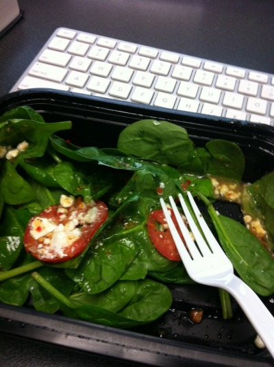 spinach baby tomatoes and some vinaigrette. i forgot to take a photo of the pita filled with spinach feta bell peppers chicken 'shrooms and onions.  both made with love.