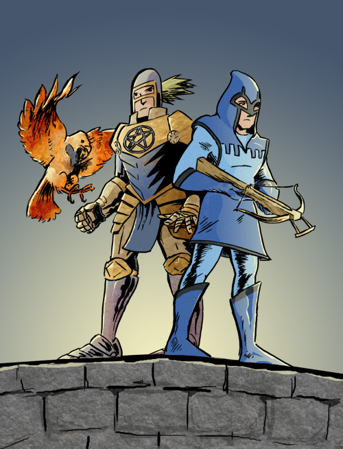 SuperheroCoCoa recently did a Booster Gold & Blue Beetle medieval redesign. Here's 2 of our favorites, the first by Michael Walsh and the second by Mark Hartman.