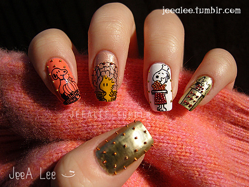 Charlie Brown Thanksgiving Nails!  :)With Snoopy And Woodstock~HAPPY THANKSGIVING!  :)